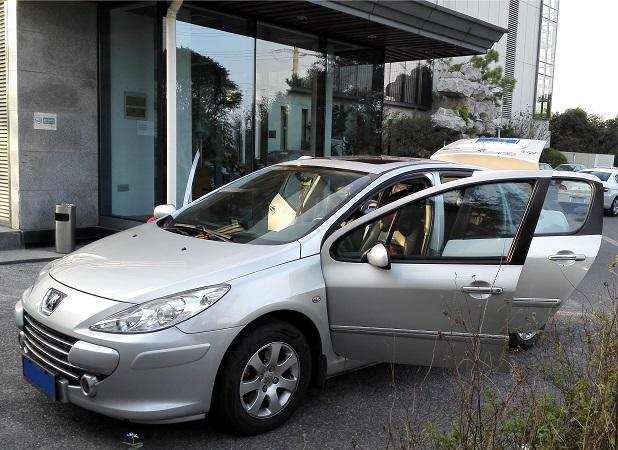 友兰科技为华为专家的东风标致进行车内空气治理服务
